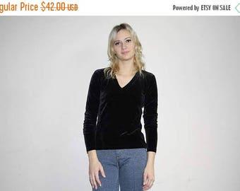 On SALE 45% Off - Black Velvet Minimalist 90s Vintage Ralph V Neck Goth Grunge Blouse Shirt Top - 1990s Ralph Lauren - 90s Clothing - WV0150