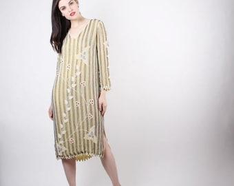On SALE 35% Off - Vintage Beaded Dress  - Vintage Beaded Tabard  -  Vintage Flapper Dress - The  Jaipur Dress - 5080