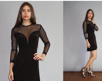 On SALE 35% Off - Vintage 1990s Sheer Mesh Deep Plunging V Body Con Goth Clubkid Little Black Dress - 90s  Black Dress - Vintage Little Blac