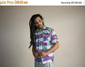 FLASH SALE - Graphic 1990s Short Sleeve Abstract Hip Hop Rap Fresh Prince Men's Button Up Dress Shirt - 90s Clothing - MV0463