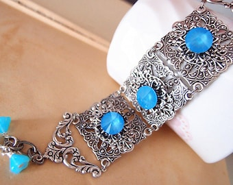 Love Ocean--Aged silver brass filigrees,Swarovski ice blueCrystal, adjustable cuff bracelet