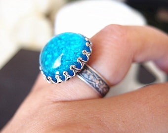 Lycoris No.8---large turquoise blue fire opal glass stone antique silver brass adjustable ring