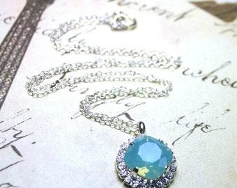 ON SALE Swarovski Crystal Cushion Cut Stone Pendant in Pacific Opal - Rhinestone Bezel Necklace in Blue - Sterling Silver