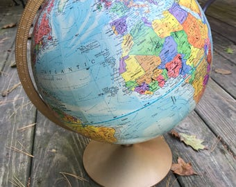 VINTAGE GLOBE -  Modern 1991 Replogle World Nation Series - 12 inch Table Globe - WoW