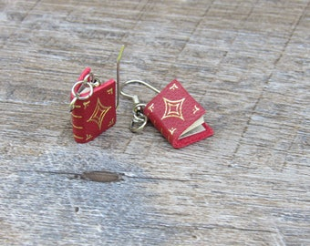 Book Earrings, Red Leather Book Earrings, with custom gold gilded image, marbled endpapers and vintage paper