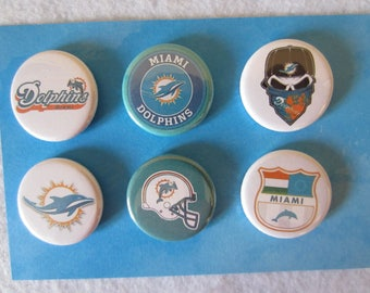 Miami Dolphins Pin Back Buttons, Miami Dolphins, Pin Back Buttons, Pins, Novelty Pins, Novelty Magnets, Magnets