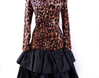Vintage 80s Morton Myles Dress - Leopard and Black Taffeta Party Dress - Avant Garde 1980s Leopard Print Dress - Size Small to Medium 8