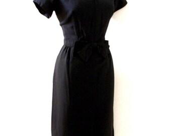 Vintage 40s 50s Black Crepe Dress w Silver Beadwork - 1940s 1950s Black Dress with Metal Zipper - Little Black Dress - Size Medium estimated