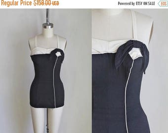 20% off SALE vintage 1950s swimsuit - ROSE MARIE Reid black & cream bathing suit  / S