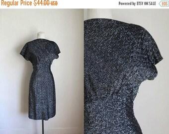 20% off SALE 50 Percent OFF...last call // vintage 1950s metallic dress - STARRY Night black & silver wiggle dress / s-m