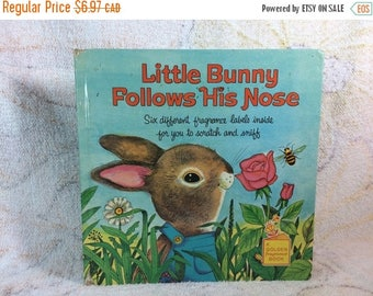 15% OFF 1970s Little Bunny Follows His Nose Golden Scent Book Missing Stickers Cute Childrens Kids Book