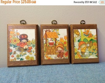 CLEARANCE Cute 1970s Wooden Wall Hangings Adorable Retro Wall Plaques Set of 3 Small Wall Hangings