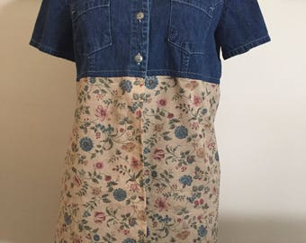 Woman's Hand Crafted Upcycled Recycled Denim Tunic Top Floral Size 10