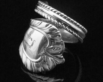 Ornate Monogrammed Sterling Spoon Ring