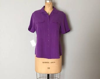 25% OFF SALE... SALE...violet purple silk top | button down silk shirt