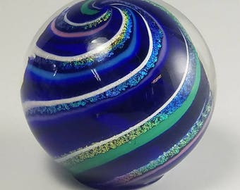 Cobalt Blue Handmade Glass Paperweight with Dichroic Swirl