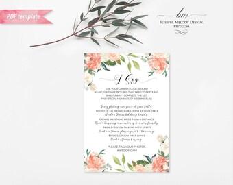 Printable Peach Cream Floral I Spy Wedding Game Card, Editable 5x7 PDF, Wedding Reception Activities Game, DIY Instant Download #02