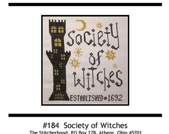 PDF E pattern emailed Witch Halloween Wicca Cross Stitch Pattern Sampler 184