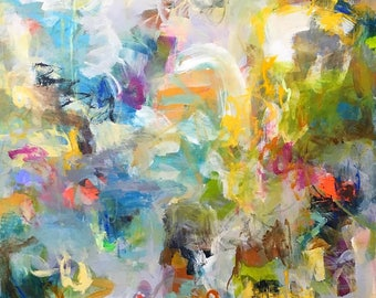 Large abstract expressionist painting- color Garden 48 x 84