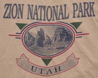 Zion National Park T-Shirt, Utah State Attraction, Vintage 90s, 1993 UT Mountain Graphic Tee, Souvenir Apparel, XL