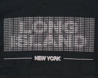 Long Island New York T-Shirt, NY Jones Beach Tee, Vintage 90s, Spell Out Graphic Text, Souvenir Apparel, Art Illusion