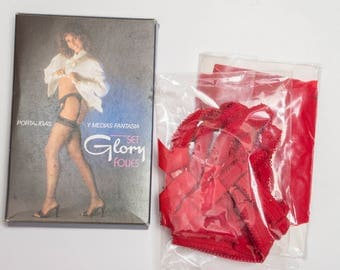 Stockings and suspenders garter belt 80's vintage deadstock Red