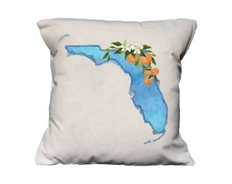 FL Watercolor Floral State Pillow   Cotton Canvas Pillow   Pillow Form Included