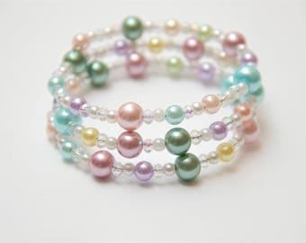 Memory Wire Bracelet, Pearl Bracelet, Bead Bracelet, Valentine's Day Gift, Birthday Gift