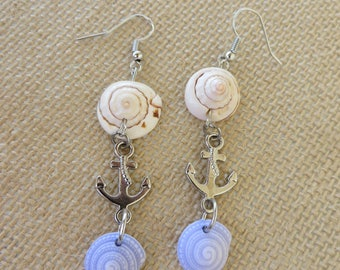 Shells And Anchors Dangling Earrings