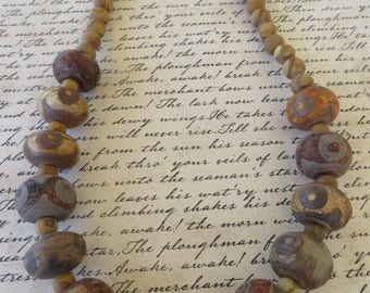 Brown Carved Bone And Wood Grain Jasper Beaded Necklace
