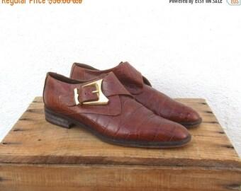 SALE Chelsea Ankle Boots Via Spiga Cognac Embossed Crocodile Italian Leather Ladies Size 6.5