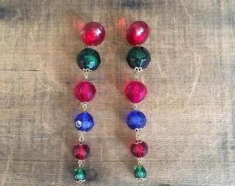 SALE 80s 90s Statement Pierced Earrings Chandeliers Jeweled Beads Extra Long Dramatic Earrings