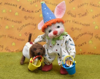 Needle Felted Halloween Clown Bunny Trick-Or-Treater