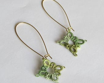 Kindness Earrings hand tatted in veriegated green
