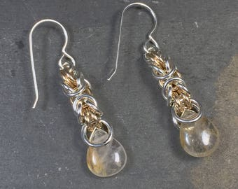 Signature Deirdre Earrings Sterling Silver with 14K GF and Gold Rutilated Quartz