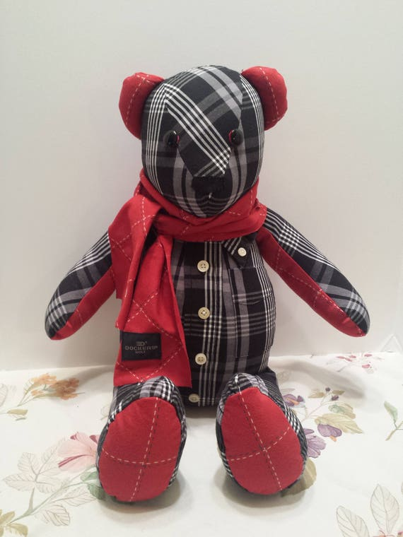 Handmade Memory Bear - Keepsake Bear - Teddy Bear from Shirts or Fabric with Add-On PAW PATCH
