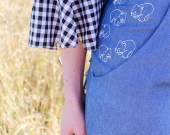 Wombat Embroidery Jeans - Blue Denim - Handmade by Alice - Only three made!