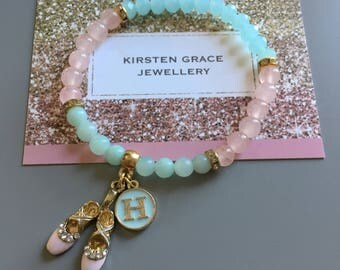 Ballet shoe enamel charm bracelet