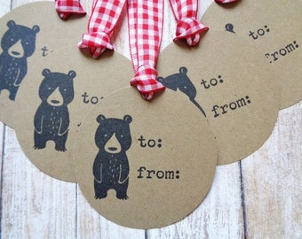 Woodland Christmas Bear Rustic Gift Tags To From Brown Kraft Tag Set of 6