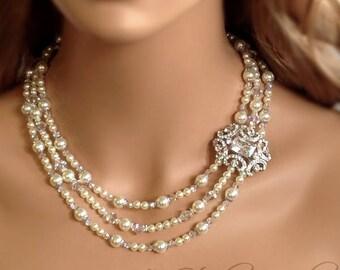 Pearl and Crystal 3-Strand Bridal Necklace with Rhinestone Crystal Brooch - ASHLEY