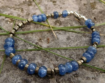 Kyanite and pyrite bracelet | gemstone bracelet | beaded bracelet | Strung gemstone bracelet | Sterling silver | Boho bracelet