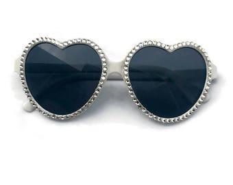 White Heart Shaped Sunglasses with Rhinestones, Heart Sunglasses, Rhinestone Sunglasses, Retro Sunglasses, Embellished Sunglasses, Cute