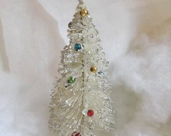 On Sale Vintage large bottle brush tree white multicolor mercury bead garland silver glitter bottlebrush tree 10.5 inch