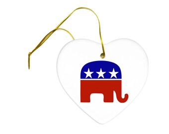 Political Republican Elephant on a Ceramic Hanging Heart Ornament