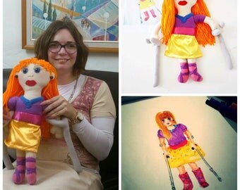 Custom handmade plush toy from drawing- Custom made, personalized plush toy