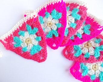 Pink Crochet Triangle Bunting - Daisy Garland - Cozy Flag Banner Nursery