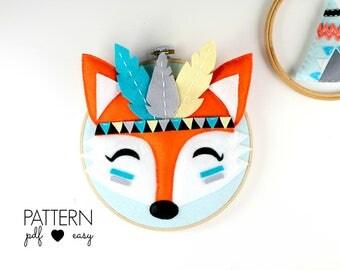 DIY Hoop Art Pattern, Tribal Nursery Art, Fox Pattern , Fox Felt Sewing Pattern, Boho Nursery, Woodland Art, Tribal Felt Pattern