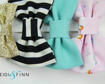SALE  Unicorn Hairbow SET of 4 Hairclip headband Holiday teal pink gold glitter