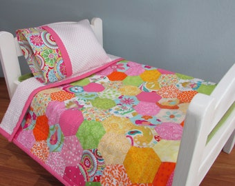 Doll Quilt Set, Scrappy Hexies, Hand Stitched, Flannel Backed with Pillow