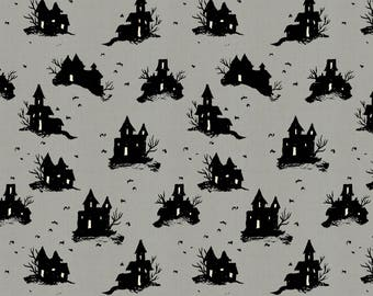 Trick or treat in grey from the lil monsters collection by Cotton and Steel-  5128-02
